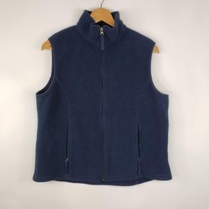 LL Bean Womens Navy Blue Full Zip Sleevless Vest